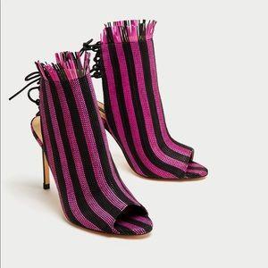 NWT ZARA Black Pink Slingback Mesh Heel Sandals